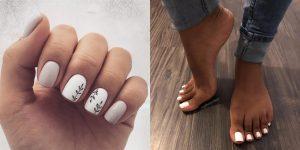 manicura y pedicura blancas